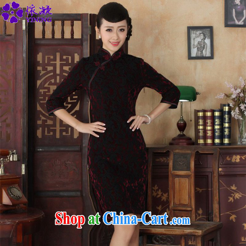 According to fuser stylish new Ethnic Wind improved female dresses lace gold velour cultivating 7 cuff Chinese qipao dress LGD/TD #0022 figure?3 XL