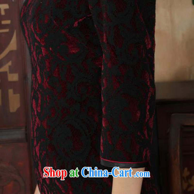 According to fuser stylish new Ethnic Wind improved female cheongsam lace gold velour cultivating 7 sub-cuff with Tang cheongsam dress LGD/TD 0022 #3聽XL, fuser, and Internet shopping
