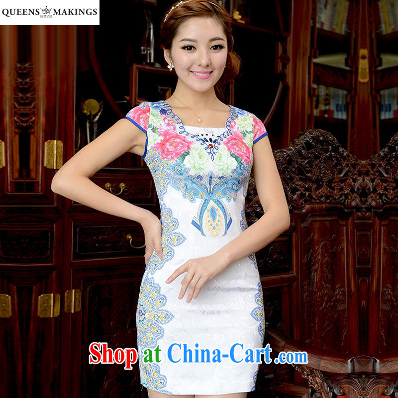 2015 summer new dress robes and the root yarn embroidery floral dresses stamp retro short cheongsam dress 15 821 Q XL suit