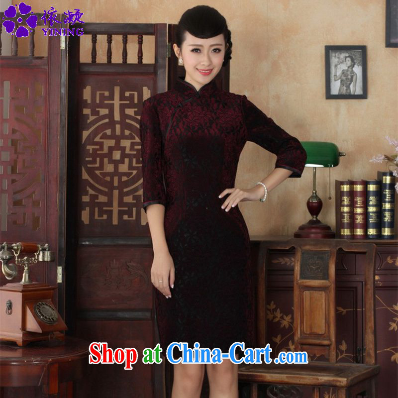 Under the fuser and stylish new ladies dresses Ethnic Wind lace gold velour Sau San 7 cuff cheongsam dress LGD_TD 0021 _3 XL
