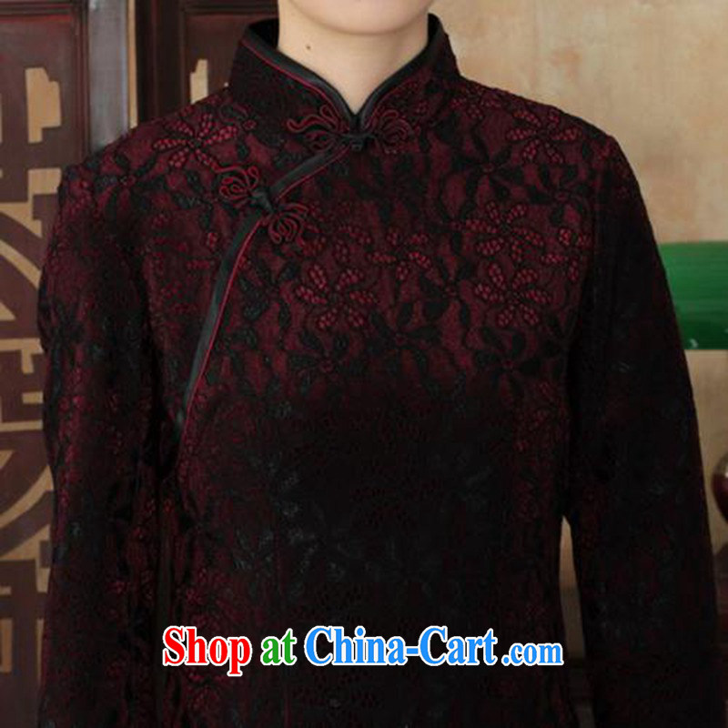 According to fuser and stylish new ladies dresses Ethnic Wind lace gold velour cultivating 7 cuff cheongsam dress LGD/TD 0021 #3 XL, fuser, and shopping on the Internet