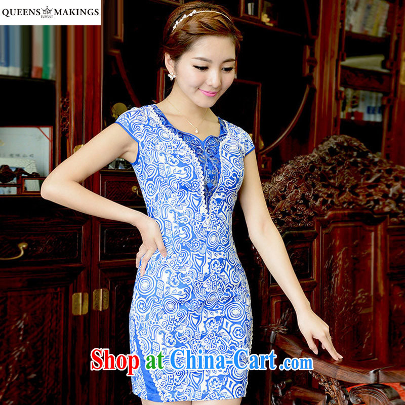 2015 summer new dress retro blue and white porcelain aura short cheongsam dress stamp cultivating cheongsam dress Q 15 831 blue XL