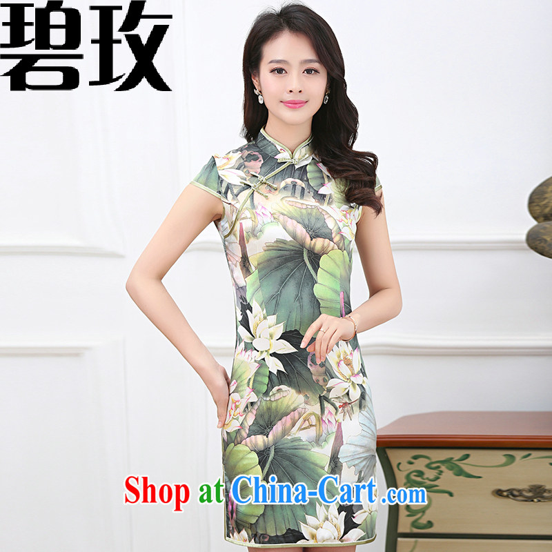 Under the 2015 summer new women with larger sauna silk Silk Dresses cheongsam dress improved Lotus Pond XL