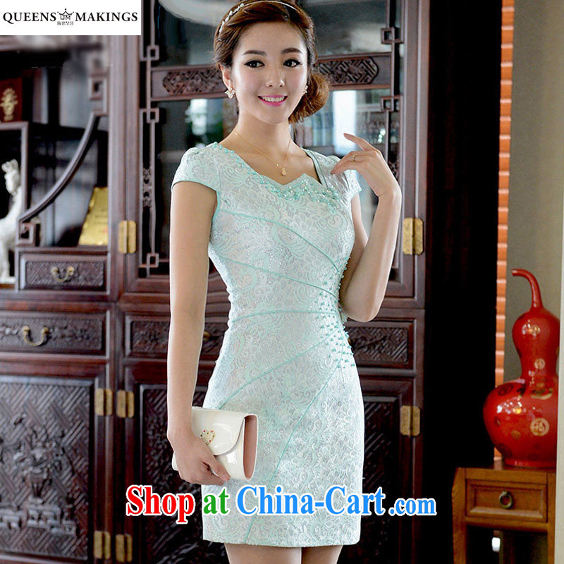 2015 summer new dress cheongsam dress beauty short dresses lace improved cheongsam dress Q 15 838 blue XL