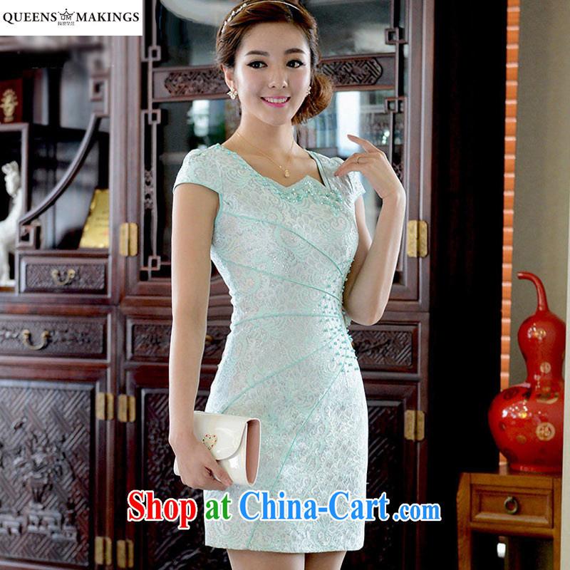 2015 summer new dress cheongsam dress beauty short dresses lace improved cheongsam dress Q 15 838 blue XL