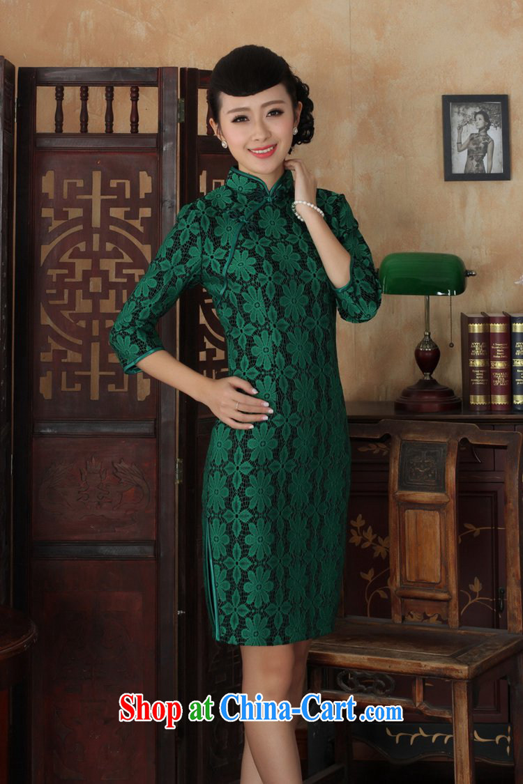 Under the fuser and stylish new ladies' dresses Ethnic Wind lace + wool beauty flag 7 sub-cuff with Tang cheongsam dress LGD/TD 0020 #green 3 XL pictures, price, brand platters! Elections are good character, the national distribution, so why buy now enjoy more preferential! Health