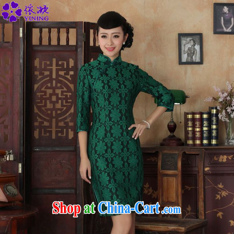 Under the fuser and stylish new ladies dresses Ethnic Wind lace + wool beauty flag 7 sub-cuff Tang replace cheongsam dress LGD_TD 0020 _green 3 XL