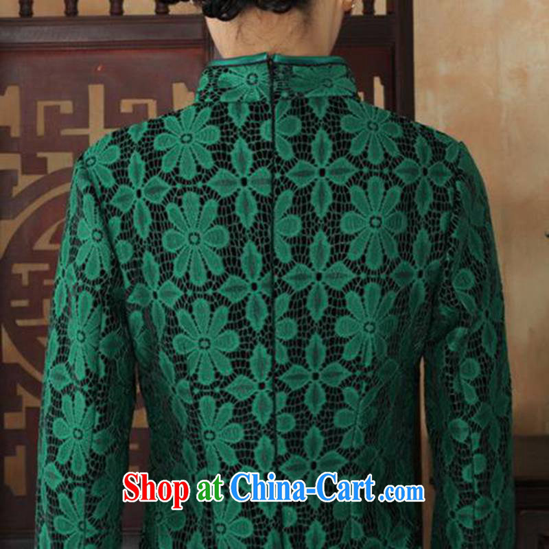 According to fuser and stylish new ladies dresses Ethnic Wind lace + wool beauty flag 7 cuff with Tang cheongsam dress LGD/TD 0020 #green 3 XL, fuser, and shopping on the Internet