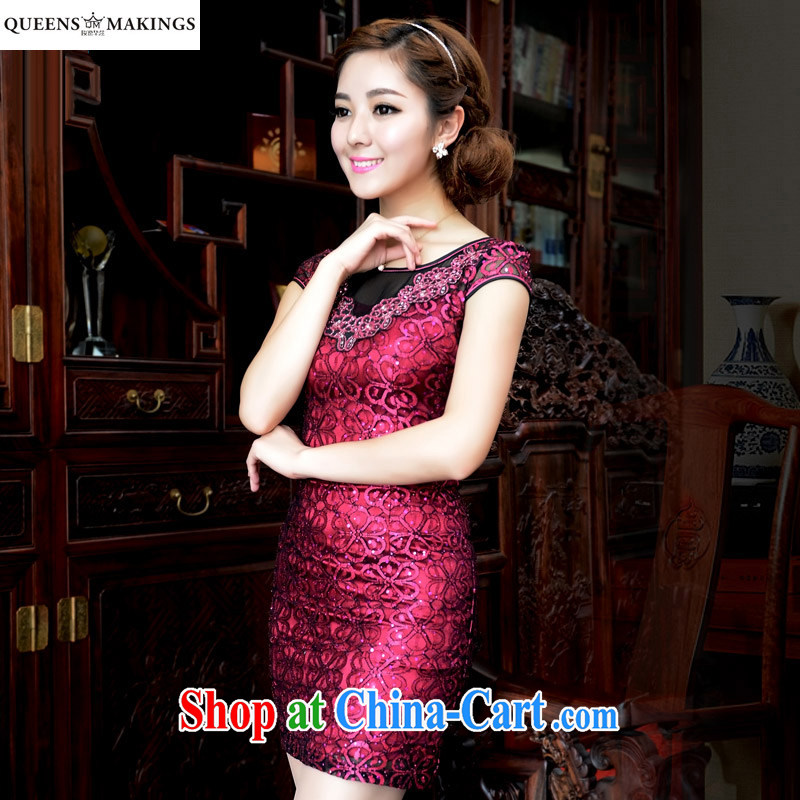 2015 summer new female dresses retro embroidery dresses fluoroscopy short, cultivating cheongsam dress Q 15 840 dark red M
