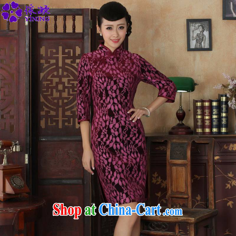 In accordance with fuser new female Chinese improved Chinese qipao lace gold velour Sau San cheongsam dress 7 cuff cheongsam LGD/TD 0019 #3 XL