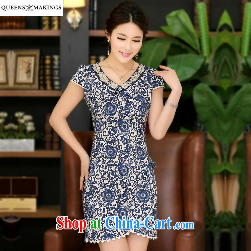 2015 new women retro embroidery improved cheongsam short, a tight short-sleeved thin cheongsam dress Q 14 086 blue M