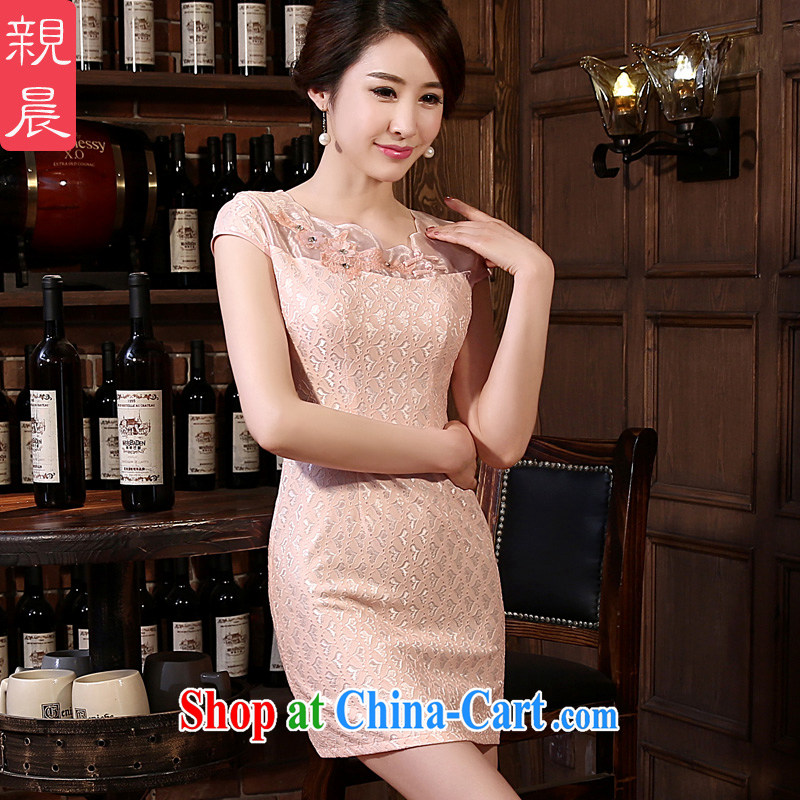 pro-am 2015 new cheongsam dress spring and summer daily short, short-sleeved lace cheongsam dress improved stylish short 2 XL
