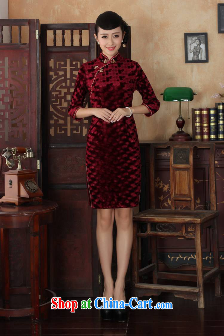Under the fuser and stylish new female Ethnic Wind improved daily Chinese qipao, scouring pads Sau San 7 sub-cuff with Tang cheongsam dress LGD/TD 0018 #wine red 3 XL pictures, price, brand platters! Elections are good character, the national distribution, so why buy now enjoy more preferential! Health