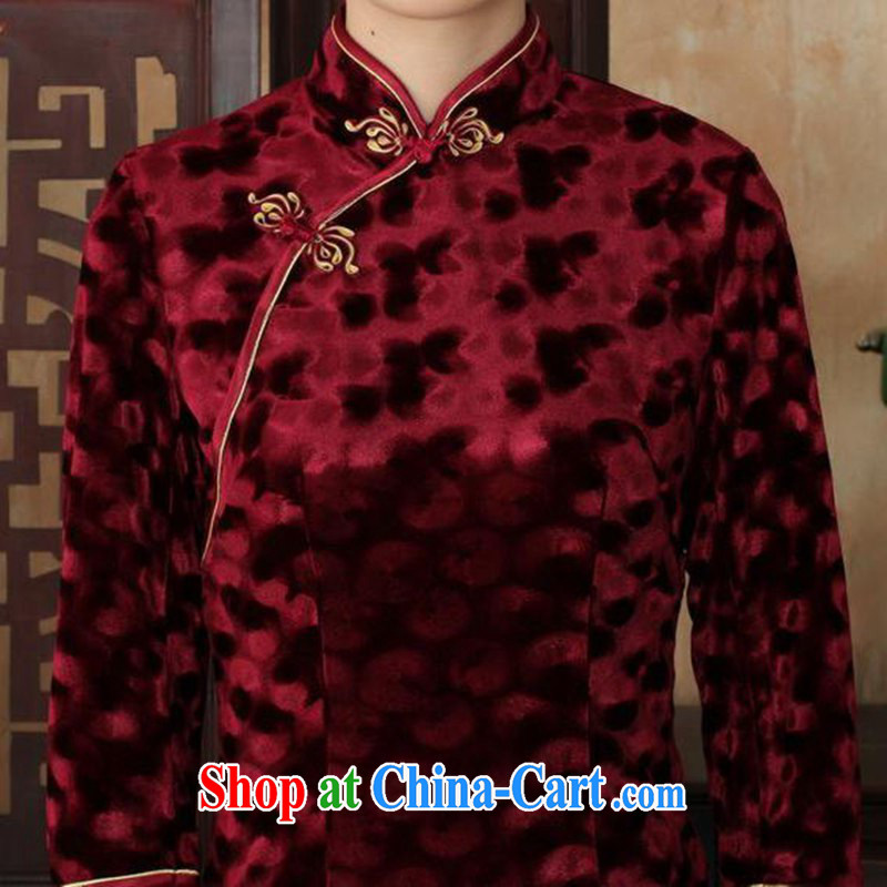 According to fuser stylish new female Ethnic Wind improved daily Chinese qipao, wool beauty 7 cuff Chinese qipao dress LGD/TD 0018 #wine red 3 XL, according to gel, and, shopping on the Internet