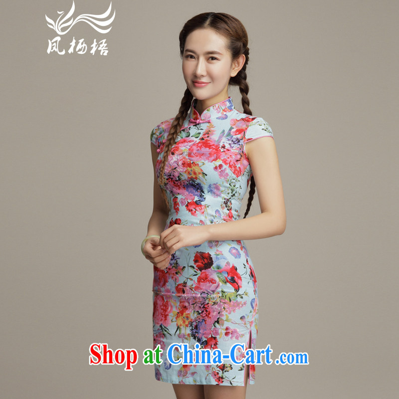 Bong-amphibious Ori-jung spent retro cotton the cheongsam daily small floral Korea Chinese qipao dresses DQ 1596 fancy XXL