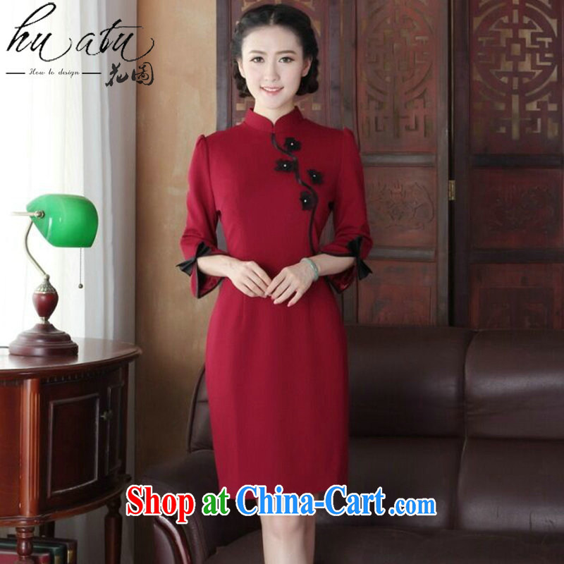 Take the cheongsam dress upscale Chinese improved, manually for three-dimensional flower knitting fashion cheongsam dress cheongsam banquet serving wine red 3XL