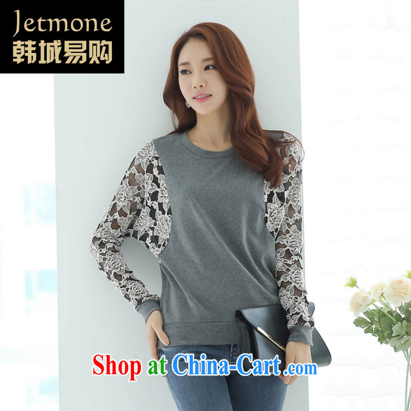 Ya-ting store 2015 spring new female lace stitching Korean version the code T shirts loose long-sleeved T-shirt solid gray XXL
