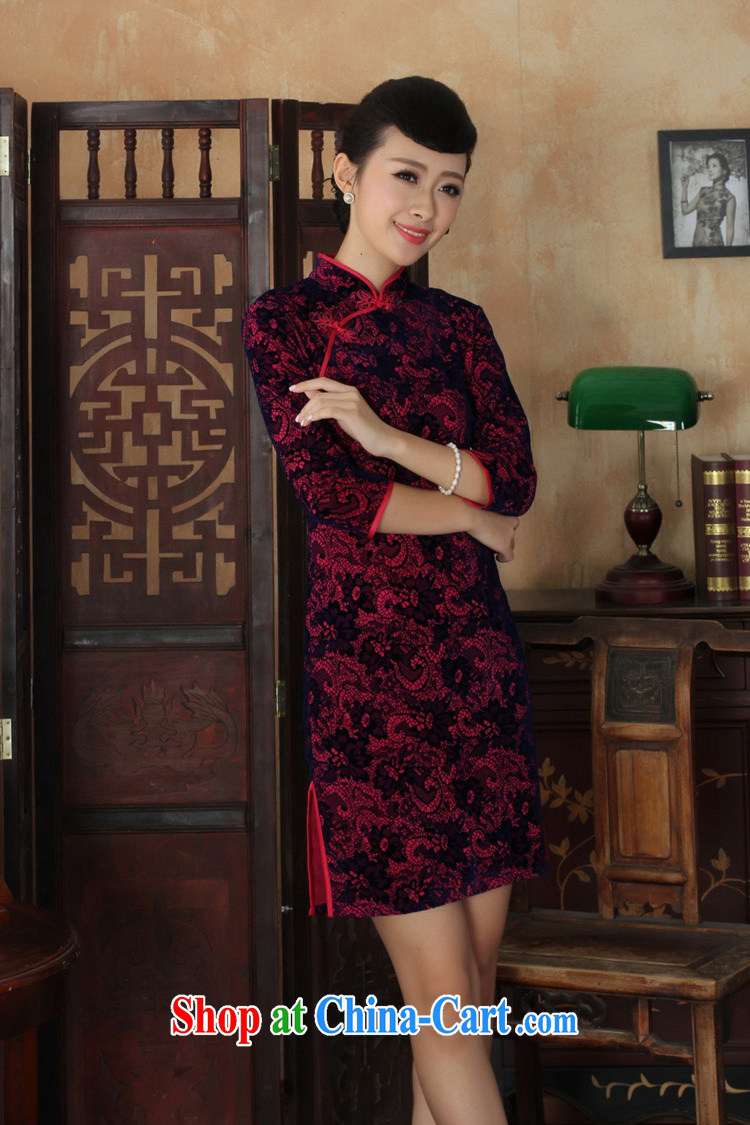 According to fuser stylish new female Ethnic Wind Chinese qipao, for a tight gold velour cultivating 7 cuff Chinese cheongsam dress LGD/TD 0016 # of red 2 XL pictures, price, brand platters! Elections are good character, the national distribution, so why buy now enjoy more preferential! Health