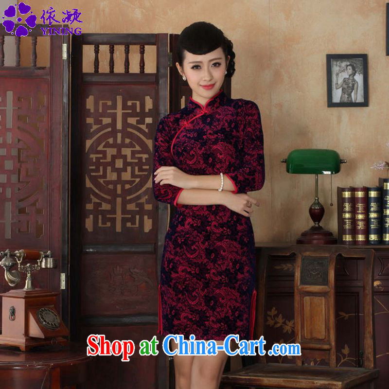 According to fuser stylish new female Ethnic Wind Chinese qipao, for a tight gold velour cultivating 7 cuff Chinese qipao dress LGD_TD 0016 _ of red 2 XL