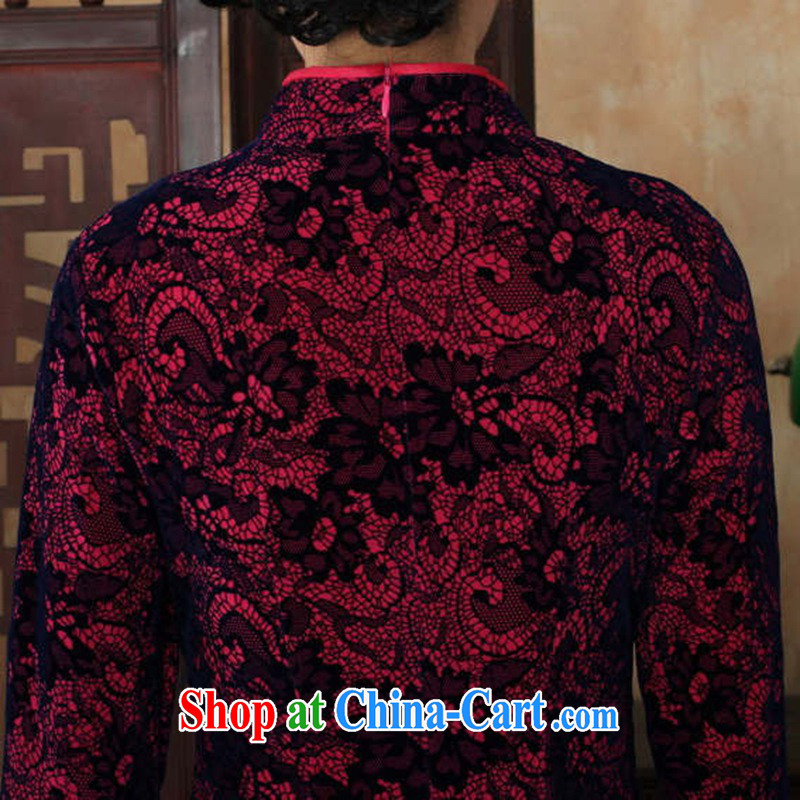 According to fuser stylish new female Ethnic Wind Chinese qipao, for a tight gold velour cultivating 7 cuff Chinese cheongsam dress LGD/TD 0016 # of red 2 XL, according to fuser, online shopping