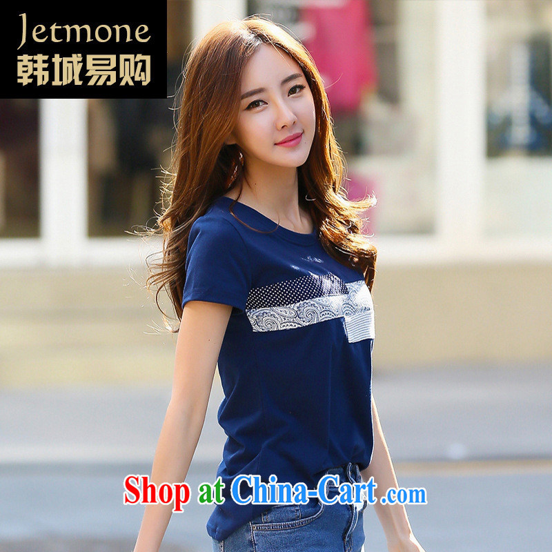 Ya-ting store 2015 South Korea, short-sleeved shirt T female summer new, larger female Korean loose stamp student Yi blue XL