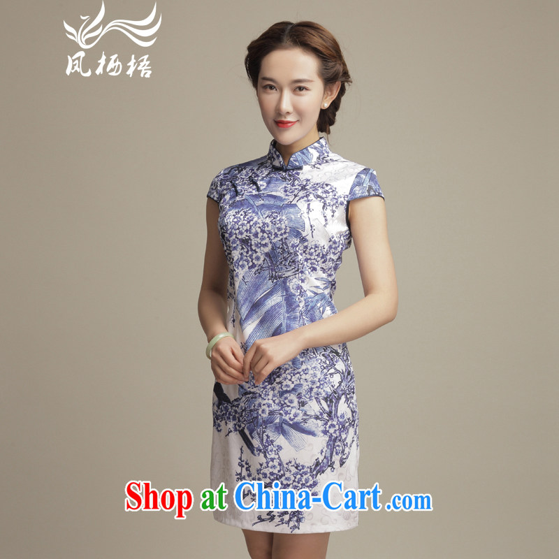 Bong-amphibious Ori-sponsors summer arts antique dresses 2015 summer stylish blue and stamp duty-day cheongsam dress DQ 1598 fancy XXL