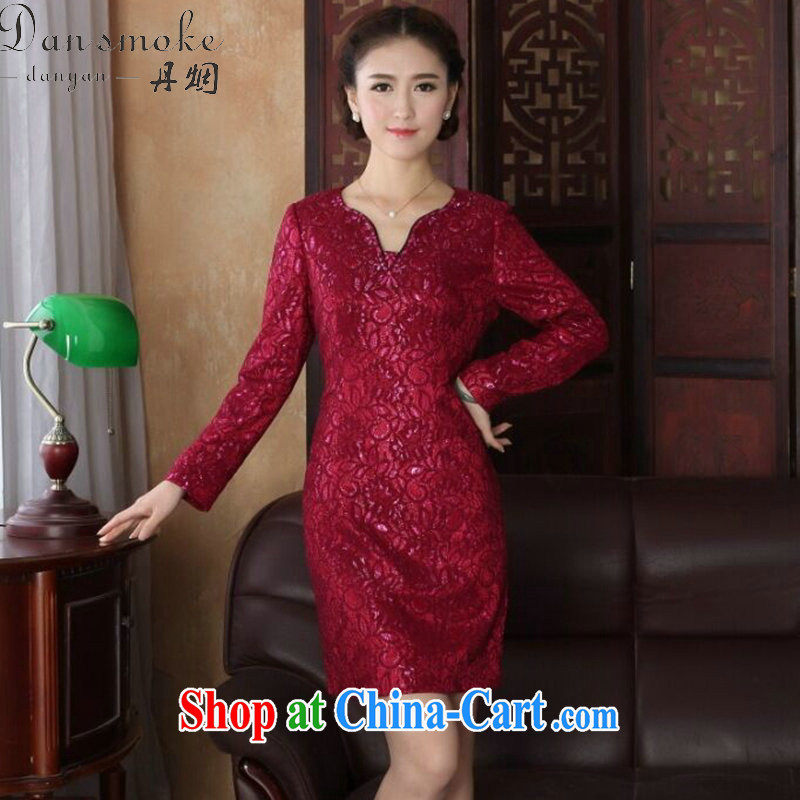 Dan smoke spring new Chinese Dress U for improved cheongsam dress manually staple Pearl lace dinner long-sleeved qipao gown shown in Figure 3XL