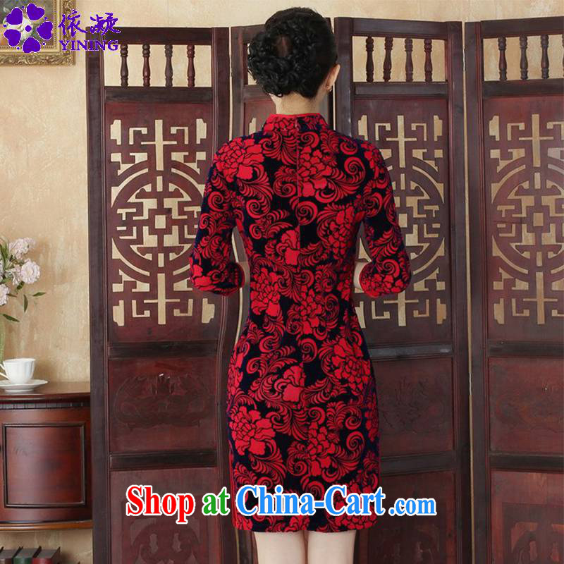 According to fuser and stylish new Ethnic Wind Chinese improved female dresses, wool, for a tight 7 cultivating a cuff cheongsam LGD/TD 0015 #saffron 2XL, according to fuser, shopping on the Internet