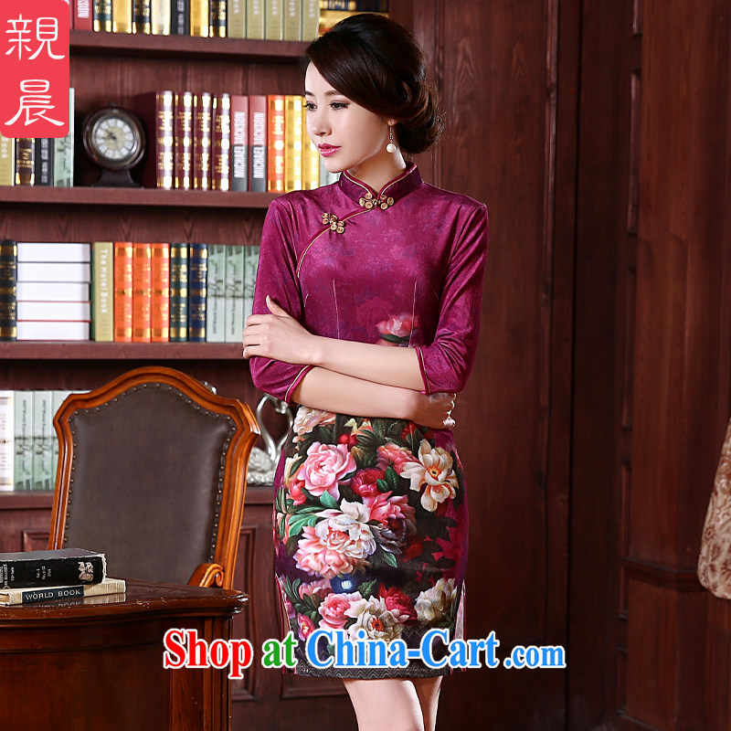 pro-am 2015 new cheongsam dress (spring/summer with high standard gold velour cheongsam dress improved stylish mom with short 2 XL