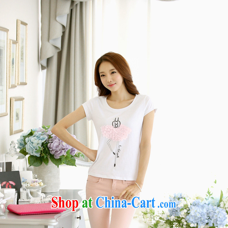 Ya-ting store 2015 short sleeved shirt T girl T-shirts female students with summer new larger female Korean short-sleeved white XL, blue rain bow, and shopping on the Internet