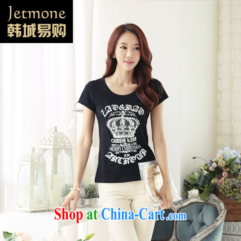 Ya-ting store summer 2015 new female short-sleeve stamp duty cotton T pension pretty T-shirt black XL