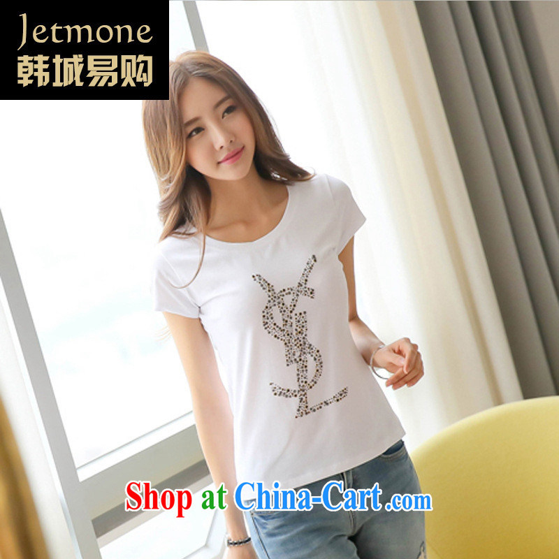 Ya-ting store 2015 summer new female students cute pure cotton short-sleeved Korean Beauty larger stamp T-shirt black XL