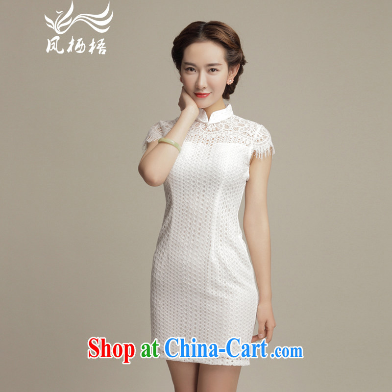 Bong-amphibious Ori-The Snow fashion cheongsam dress summer 2015 new lace improved sexy cheongsam dress DQ 15,102 white XXL
