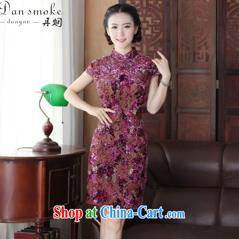 Dan smoke summer new cheongsam dress dinner Chinese improved the style and elegant wool China wind short-sleeve dresses such as the color XL