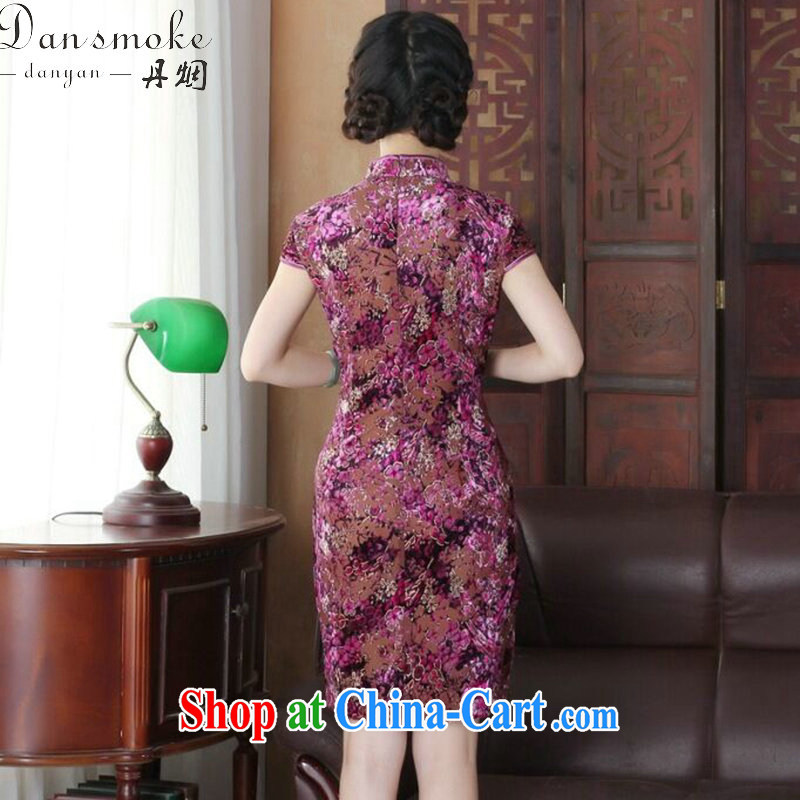 Dan smoke summer new cheongsam dress dinner Chinese improved the style and elegant wool China wind short-sleeve dresses such as the color XL, Bin Laden smoke, shopping on the Internet