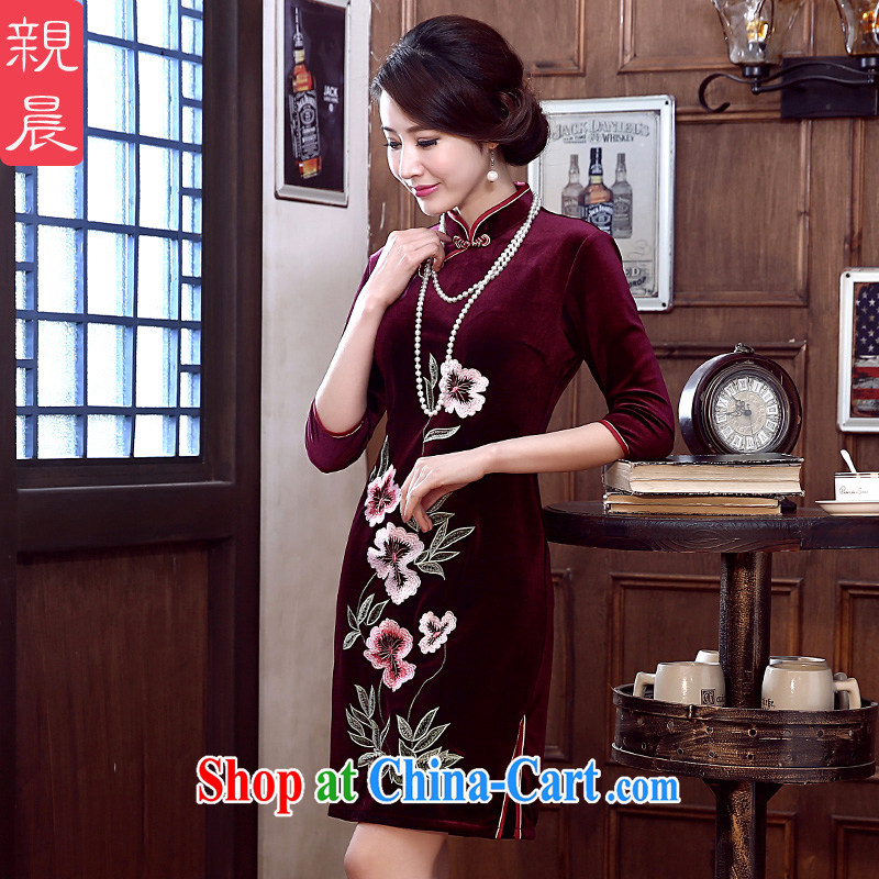 pro-am 2015 new cheongsam dress spring and summer is short, the velvet cheongsam dress improved stylish mom with short 3 XL