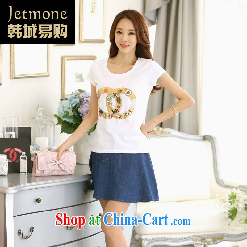 Ya-ting store 2015 short-sleeve shirt T girl T-shirts female students round-collar summer new, larger female Korean short-sleeved royal blue XL