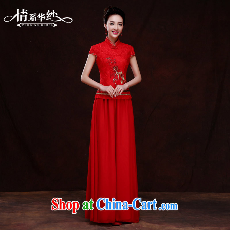 The china yarn 2015 new spring clothes toasting cheongsam Chinese improved marriage dresses Red Beauty short-sleeved bridal cheongsam dress red M