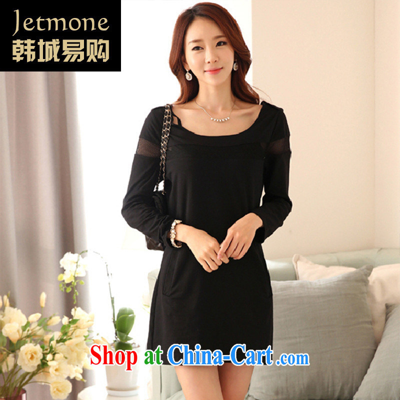 Ya-ting store 2015 spring new Korean girls in long, loose stitching Web yarn solid shirt female black XXL