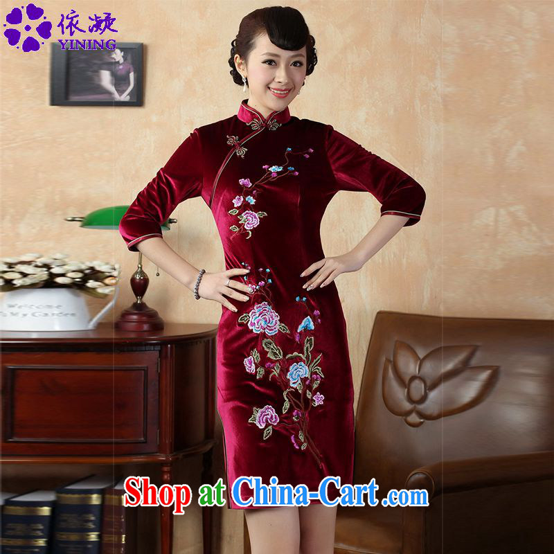 According to fuser stylish new ladies retro improved Chinese qipao, for a tight embroidered short, cultivating Chinese cheongsam dress LGD/TD 0010 #wine red 2 XL