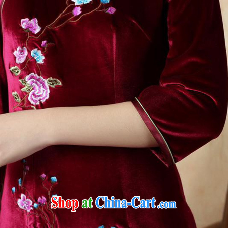 According to fuser stylish new ladies retro improved Chinese qipao, for a tight embroidered short, Sau San Tong with cheongsam dress LGD/TD 0010 #wine red 2 XL, fuser, and shopping on the Internet