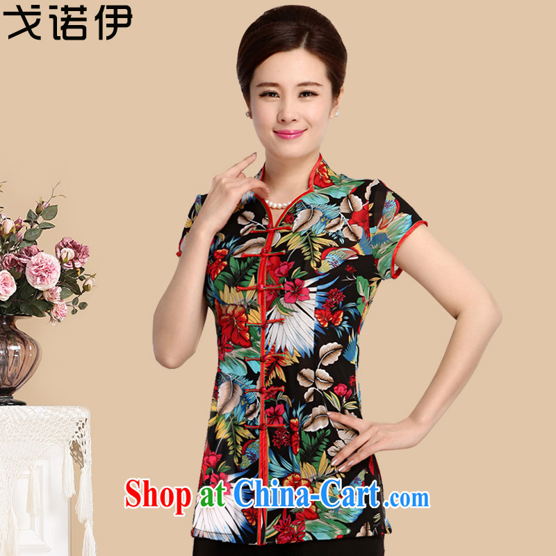 Al Gore, the middle-aged and older women wear summer wear new antique Chinese T-shirt middle-aged mother with floral solid T-shirt 9093 suit 4 XL .