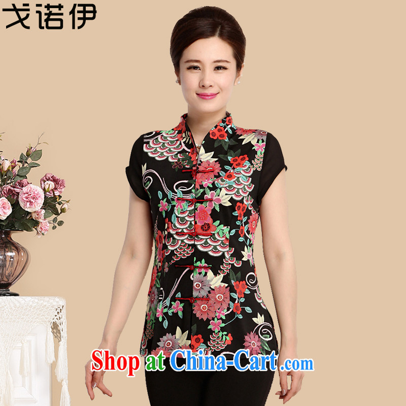 Al Gore, the 2015 middle-aged and older female spring new middle-aged mother with summer Ethnic Wind retro shirt 9094 flower 4 XL .