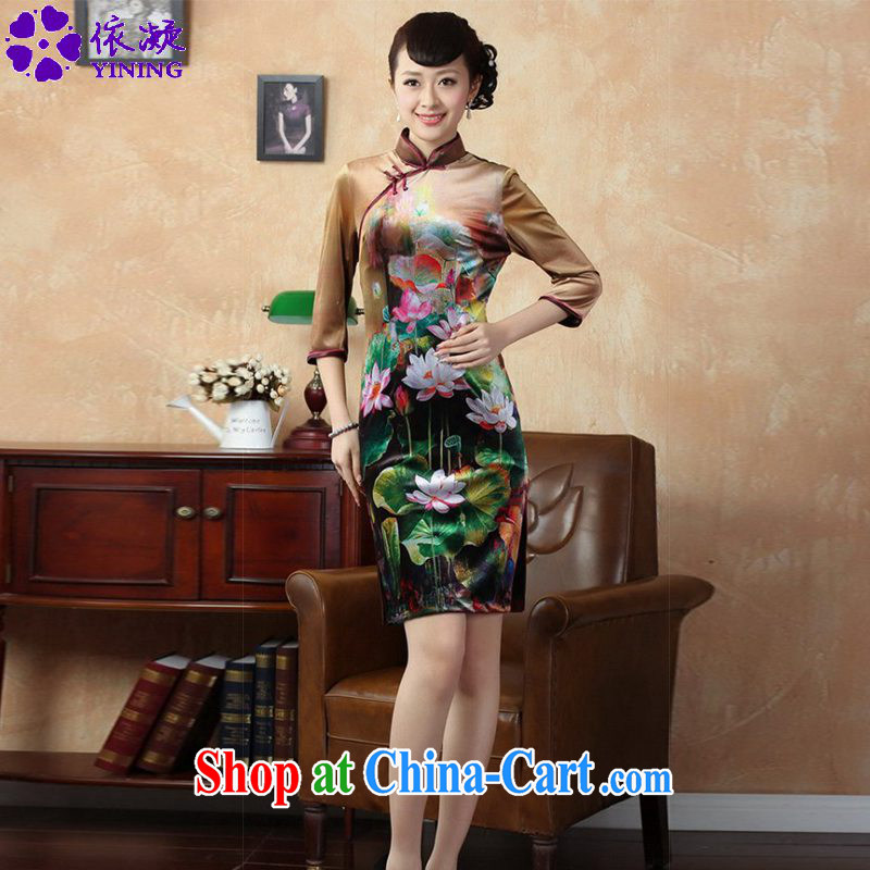 According to fuser stylish new female Ethnic Wind improved Chinese qipao, for classical-tie hand-painted cultivating Chinese cheongsam dress LGD/TD #0009 figure 2 XL