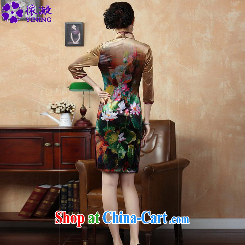 According to fuser stylish new female Ethnic Wind improved Chinese qipao, for classical-tie hand-painted Sau San Tong with cheongsam dress LGD/TD #0009 figure 2 XL, fuser, and shopping on the Internet
