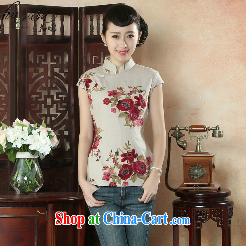 spend the summer with new dresses T-shirt Chinese, Han-chinese improved version for the ladies' short-sleeve cotton the Chinese figure color L