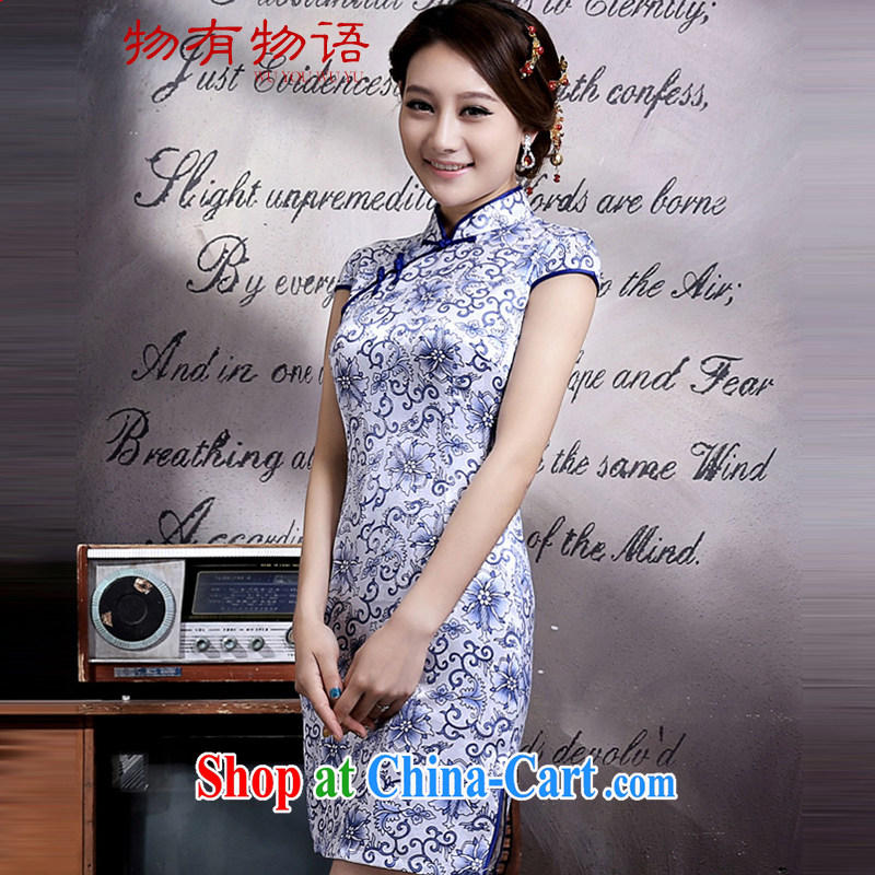 A Chinese qipao 2015 spring retro improved short daily Tang decorated in blue and white porcelain summer stylish girl dresses cheongsam blue and white porcelain XL