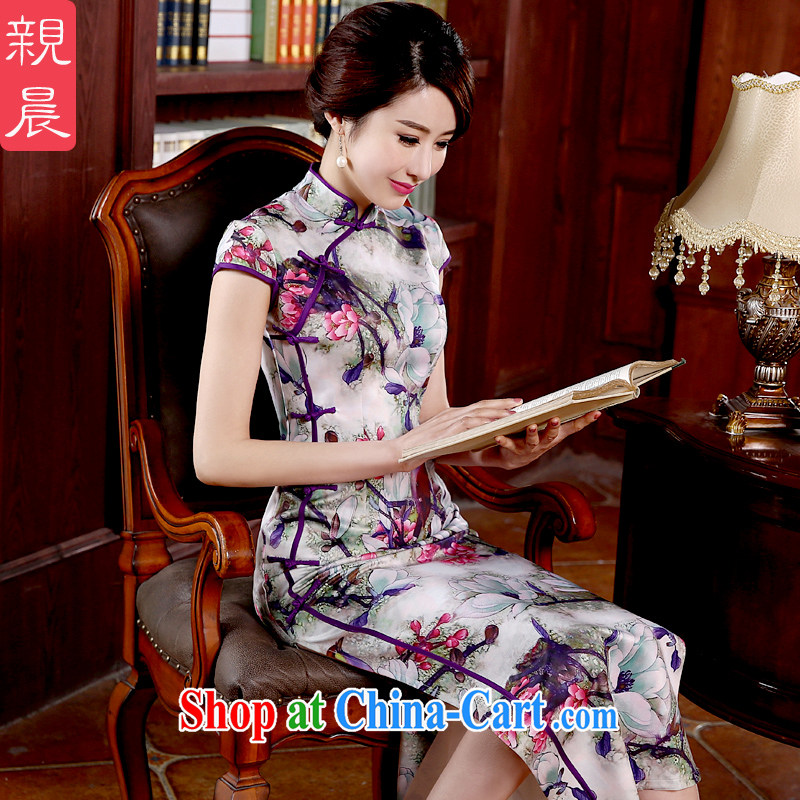 pro-am 2015 new cheongsam dress spring and summer long, short-sleeved, daily outfit skirt improved stylish long M