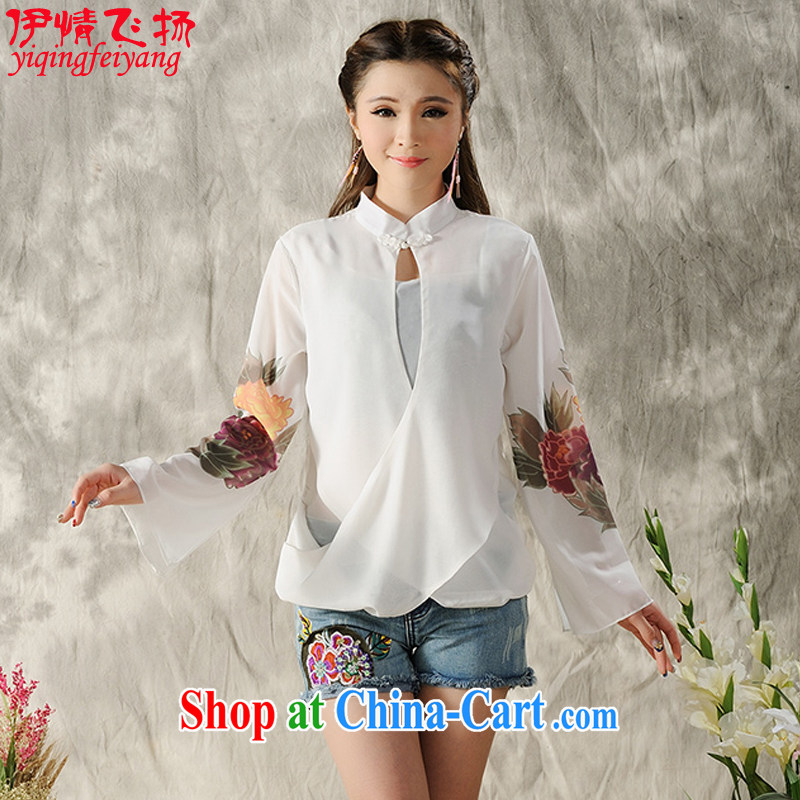 The flies love 2015 national style in a new, hand-painted long-sleeved cheongsam dress shirt Tang replace spring Chinese female black XL
