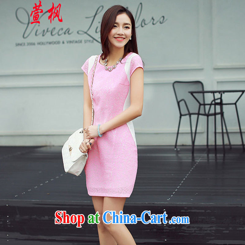 XUAN FENG 2015 summer new Korean Beauty round-collar short-sleeve hit color stylish retro dress cheongsam dress the toner XXL